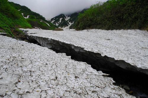 白馬大雪渓白馬尻周辺・大雪渓の末端