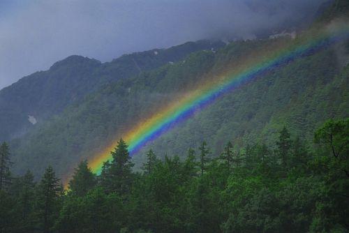 横尾谷で眺める虹